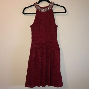 Dresses & Skirts - Lace Red Dress with Decorated Neckline